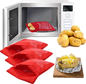Microwave Potato Bag, 3 Pack Reusable Express Microwave Potato Cooker Bag, Baked Potato Cooker Perfect Potatoes Just in 4 Minutes - Red Baked Pouch.