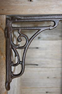 Southern Metal Set of 6 Vintage-Look Art Deco Window Decor Cast Iron Corbels Shelf Brackets, 6 inch x 6 1/2 inch, B-64