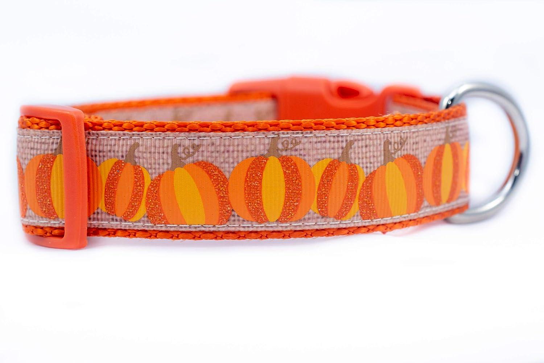 Burlap Pumpkin Dog Collar 1 inch or 1.5 inch wide
