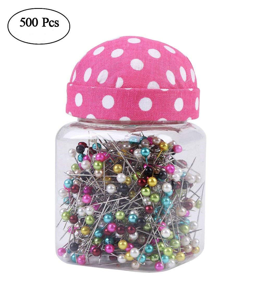 Hlitand 500Pcs Multicolor Beads Needles Quilting Pins in Pink Fabric Covered Pin Cushion Bottle Sewing Craft Hilitand 4337010435