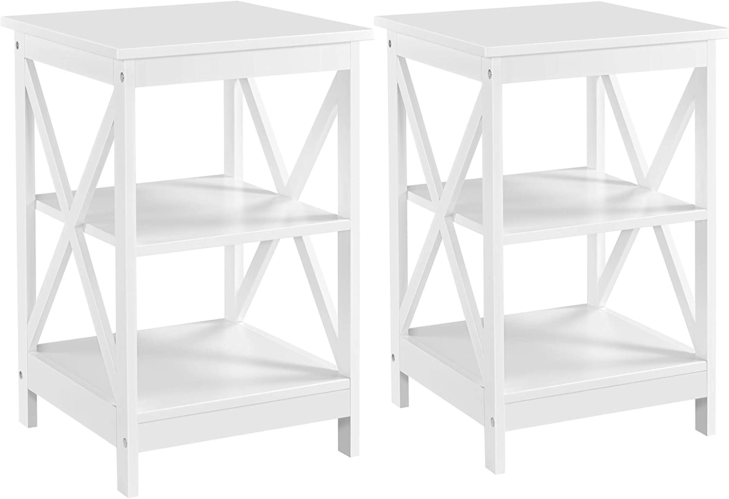 YAHEETECH 3-Tier End Table, X-Design Wooden Sofa Side End Table Storage Cabinet, Living Room Bedroom Furniture, Set of 2, White
