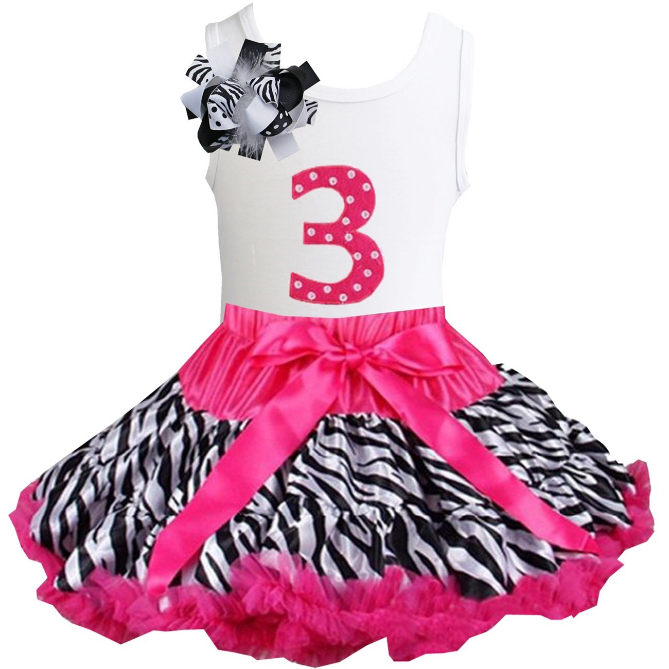 6th Birthday Tee 2pcs Dress Outfit Kirei Sui Girls Ruffled Tutu /& 1st