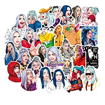 Rumbeast Billie Eilish Car Stickers, 50 Pcs Cartoon Bumper Stickers DIY Vinyl Sticker for Snowboard Laptop Luggage Car Motorcycle Bicycle Fridge and More: Kitchen & Dining