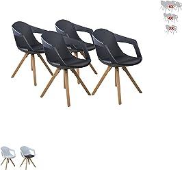 i-flair® Set Esszimmerstuhl/Sessel / Küchenstuhl MIT ARMLEHNE aus Holz mit Sitzschale + Sitzkissen aus Kunstleder (4, Schwarz)