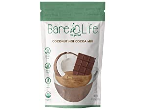 Bare Life Instant Organic Coconut Hot Cocoa Mix - 10 Serving Pouch   Gluten Free, Dairy Free, Refined Sugar Free, Vegan, Plant Based, Paleo, Soy Free, Corn Free