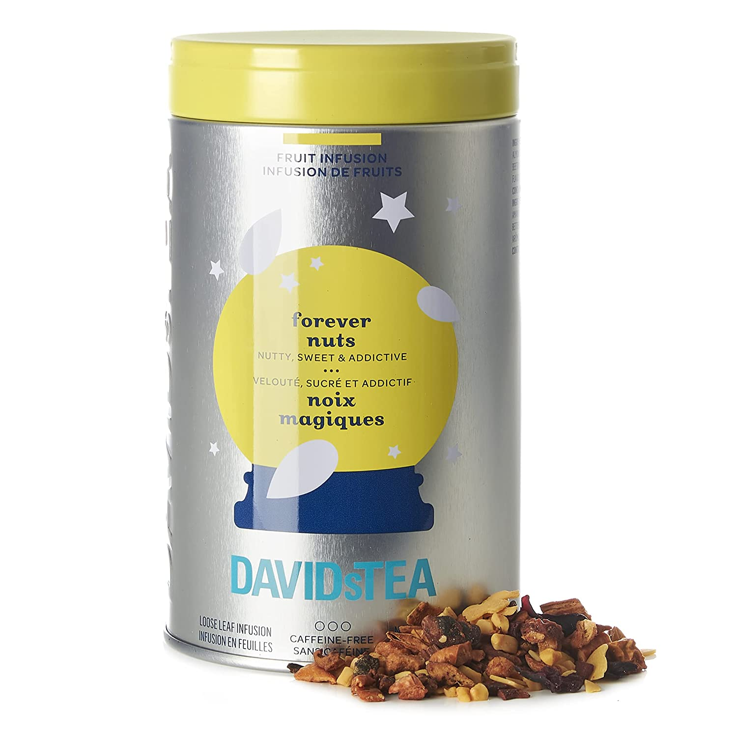 DAVIDsTEA Forever Nuts Spiced Loose Leaf Herbal Tea Iconic Tin, with Almonds, Apple, and Cinnamon, 101g / 3.6oz