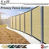 BOUYA Beige Privacy Fence Screen 5' x 25' Heavy