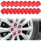 Andux Land Wheel Lug Nut Covers Silicone 21mm 20PCS LSBHT-01 (Red)