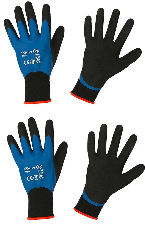 Keron'Aqua' Nylon Garden Gloves - Waterproof Work Gloves - Outdoor Gloves x 2 Pairs (Ex Large)