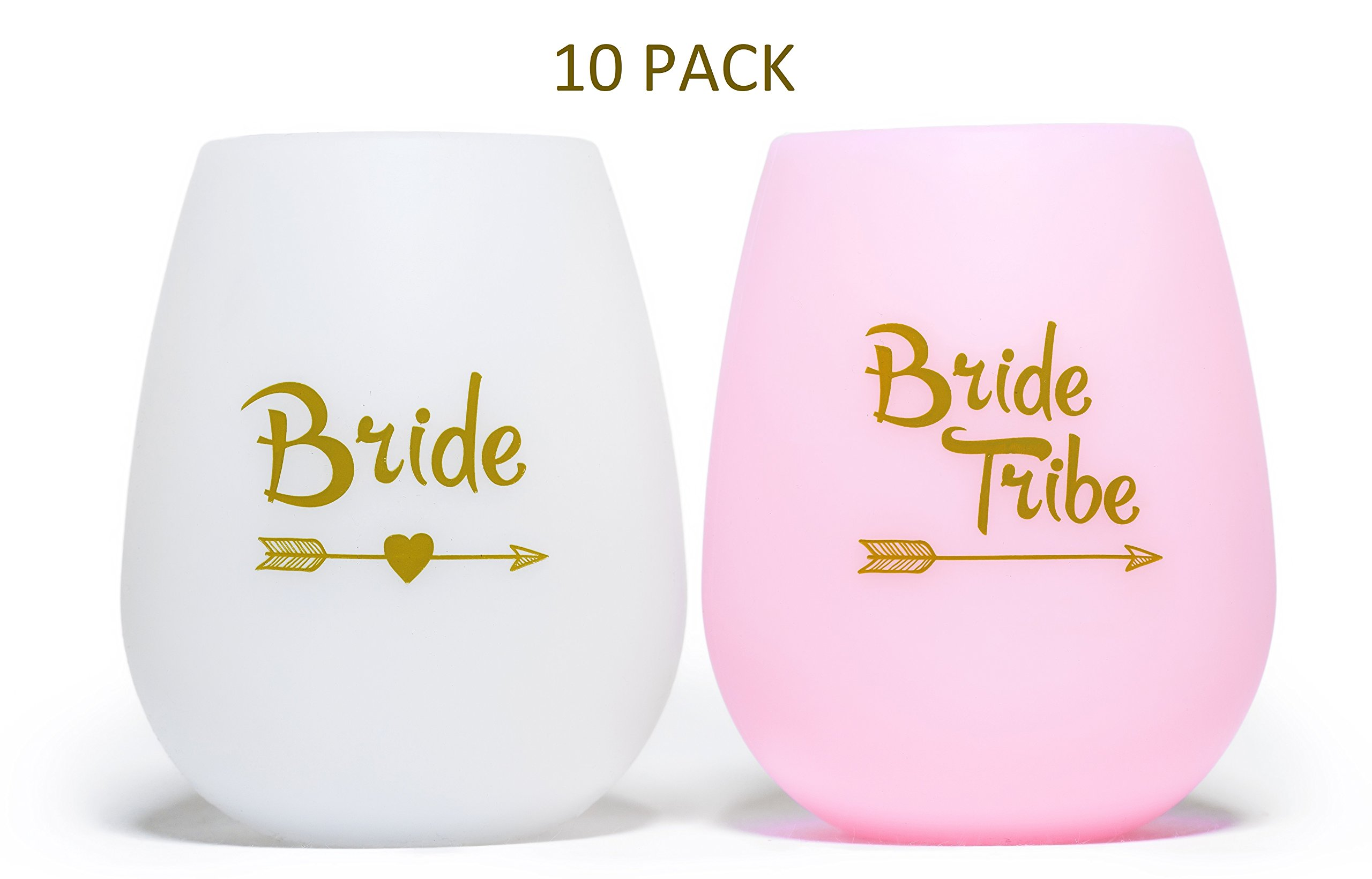 VINOVITA Silicone Wine Bride to Be & Tribe Team Party Glasses 10 Set   BPA Free, Unbreakable, Portable, Flexible, Reusable & Comfy   for Beer, Cocktails, Drinks & More   Bonus 12 Temporary Tattoos