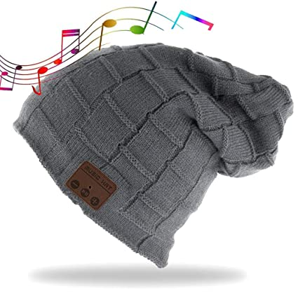 Bluetooth Beanie Hat Wireless Headphone Beanie Hat with HD Stereo Earphone  Speaker Mic Unisex Washable For 3f3519a06ef7