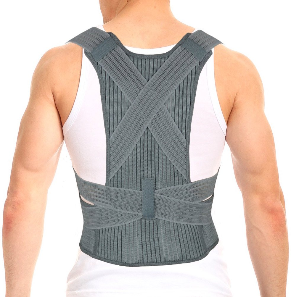 ORTONYX Dynamic Posture Corrector Clavicle and Shoulder Support Back Brace, Fully Adjustable for Men and Women - L/XL Gray
