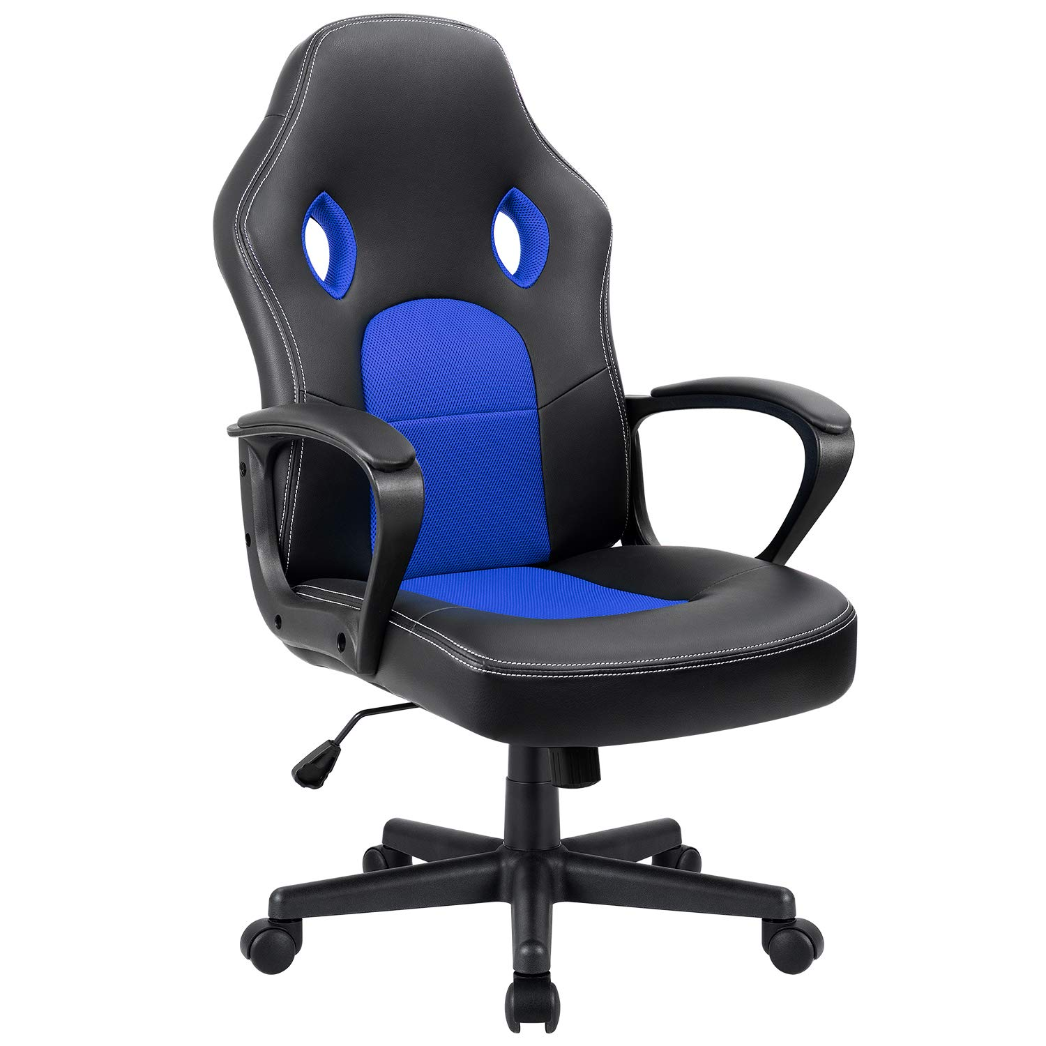 Furmax Office Chair Desk Leather Gaming Chair, High Back Ergonomic Adjustable Racing Chair,Task Swivel Executive Computer Chair Headrest and Lumbar Support (Blue)