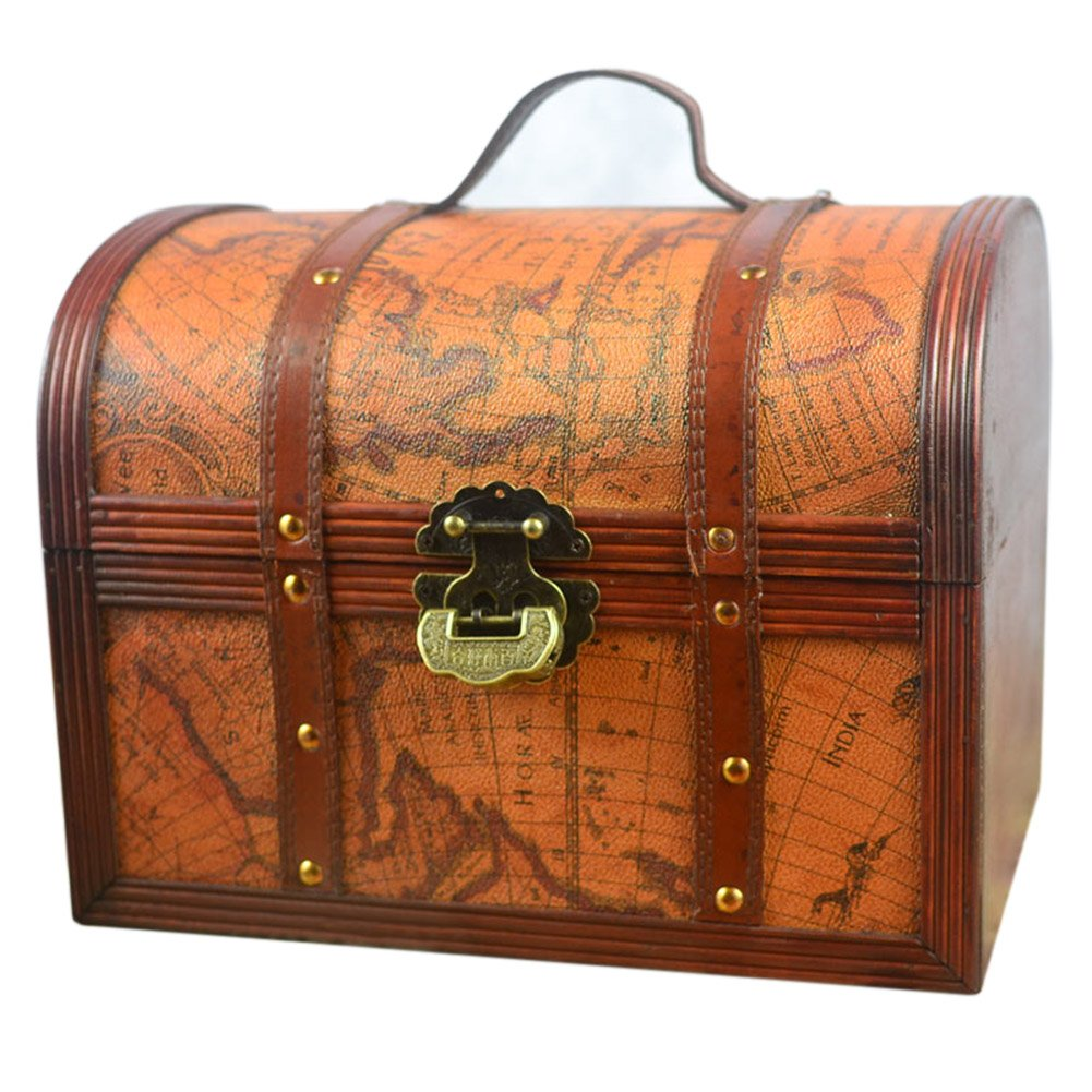 DinQ Printed Exploration Age Map Giant Wooden Classical Treasure Storage Box with Lock (L)