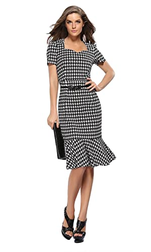 Zhaoyun Womens Official Optical Illusion Short Sleeve Business Cocktail Dress