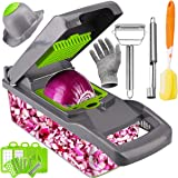 Artcome Vegetable Chopper Slicer Onion Dicer with Colander Basket and Container Food Chopper Onion Cutter with Protective Gloves, Fruit Core Remover Tool, Stainless Steel Peeler and Sponge Brush