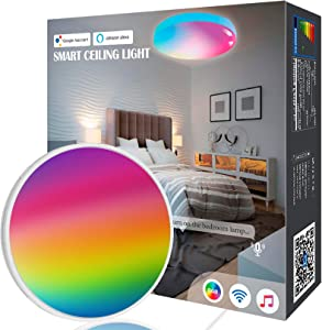 Flush Mount Ceiling Light, OHLUX WiFi Smart Music Sync Ceiling Lamp Work with Alexa Google Home, 1800LM Superbright RGB for Bedroom Livingroom Hallway Light Fixtures Decor, 12Inch 18W Round