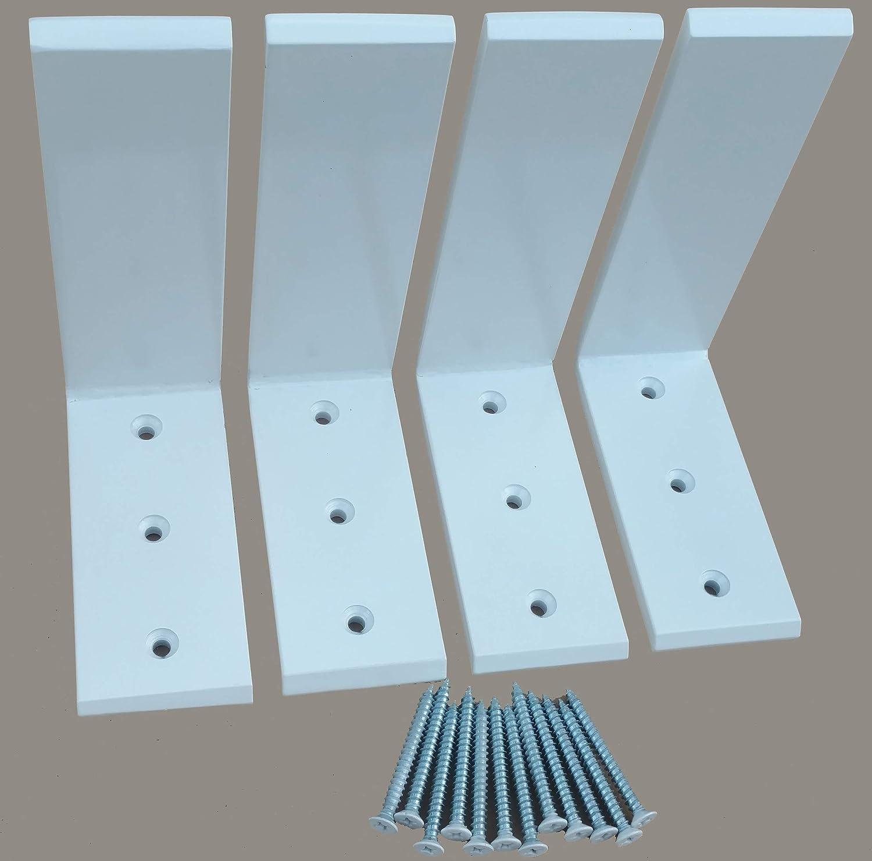 """Heavy Duty L Bracket White Steel 6"""" x 8"""" Countertop Support Brackets Packs (4)"""