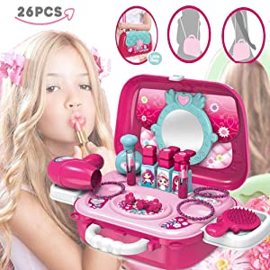 Herefind Pretend Play Cosmetic and Makeup Set with Portable Case Beauty Salon Toy Playset Birthday for Kids Girls Toddlers - 19 Pieces
