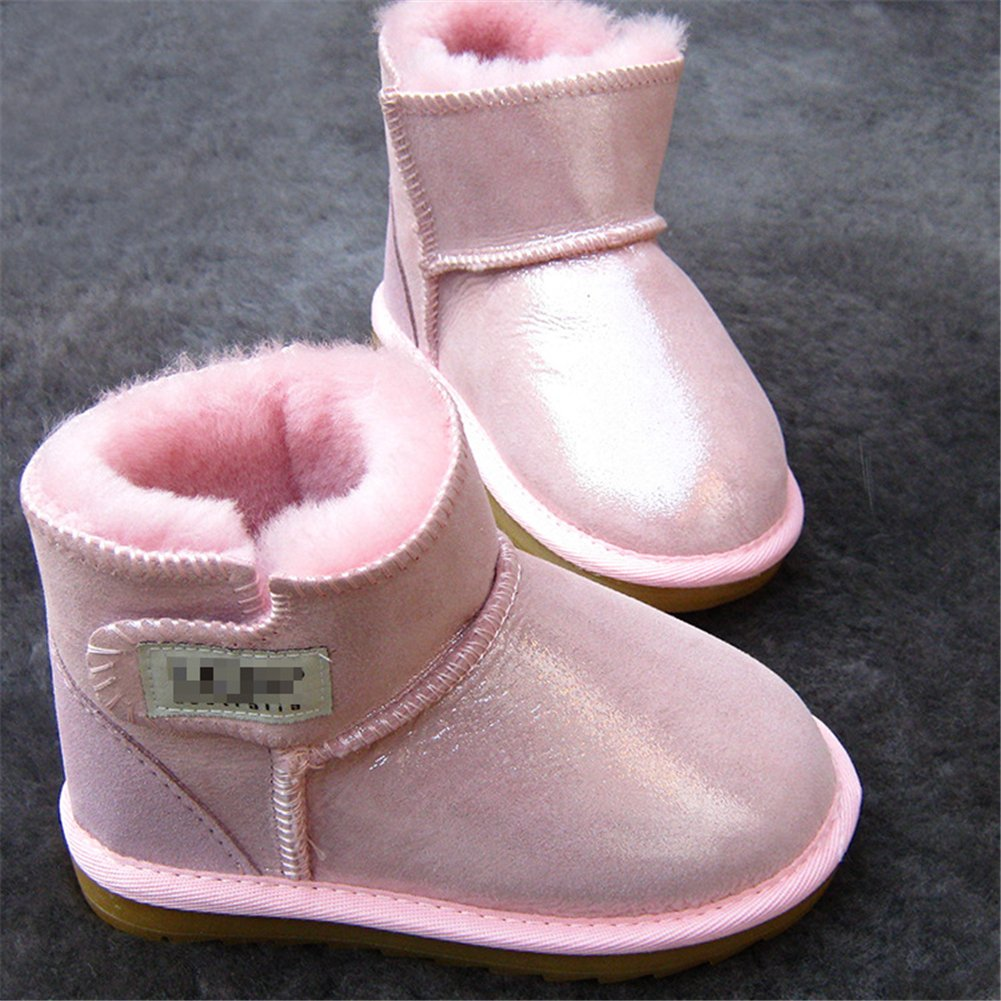 Zhoumei Fashion Baby Winter Flat Shoes Leather Infant Warm Snow Boots