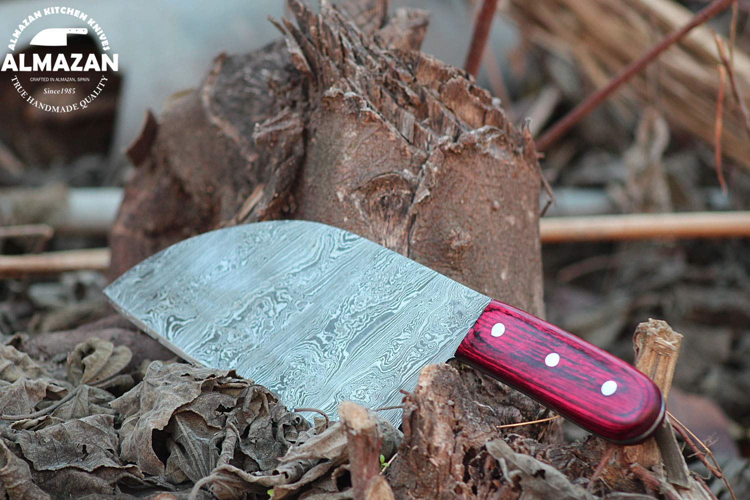 ALMAZAN Hand Forged Damascus Chef Style Knife with Hand Stitched Naked Leather Sheath