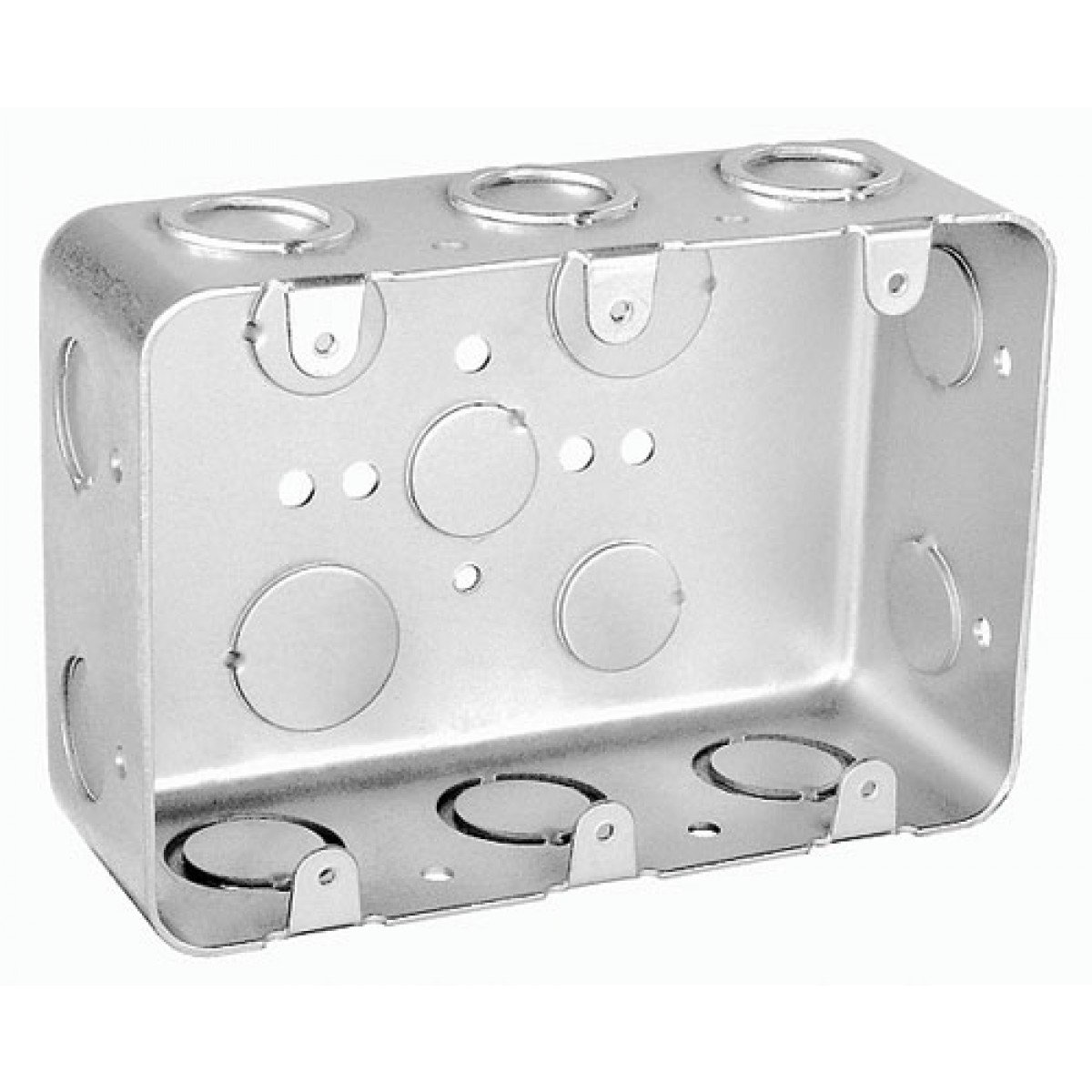 1 Pc, 2-1/8 In. Deep, Three Gang Multi Device Switch Box, .0625 Galvanized Steel, (4) 1/2 In. & (6) 1/2-3/4 In. Side Knockouts; (2) 1/2 & (2) 3/4 In. Bottom Knockouts