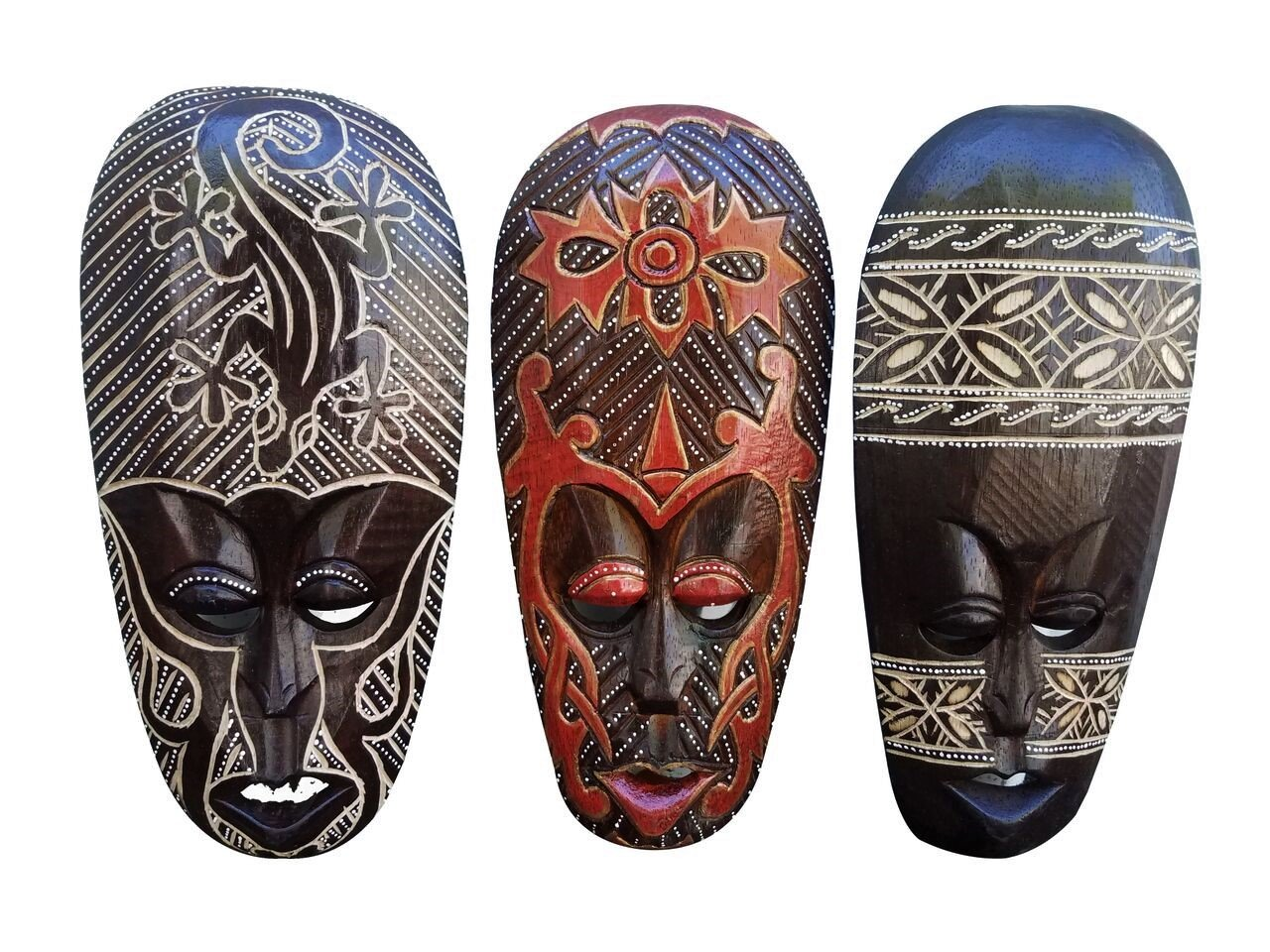 All Seas Imports Gorgeous Set Of (3) Hand Chiseled Wood African Style Wall Decor Masks by All Seas Imports