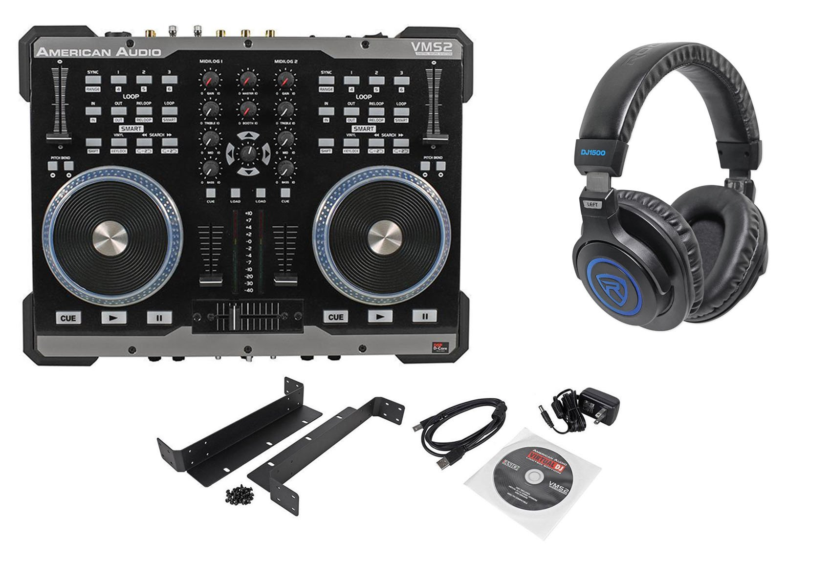 Package: American Audio VMS2 USB MIDI DJ Controller With Built-In Soundcard Touch Scratch Wheel Virtual DJ LE software + American Audio HP550 Lava Red/Black Over-the-Ear High-Powered DJ Headphones by American
