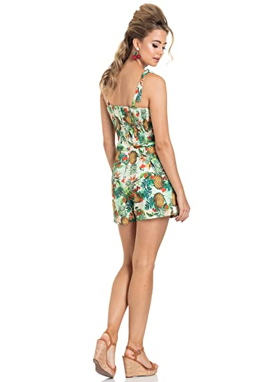 22105a8810 Voodoo Vixen Kirsty Tropical Pineapple   Cherry Print Retro Pinup Playsuit  Romper (X-Large