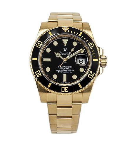 Rolex Submariner Date oro amarillo cerámica negro Dial Mens Reloj 116618: Amazon.es: Relojes