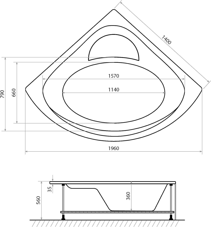Acryl-Wannensch/ürze und Ab-/Überlaufgarnitur Modell LED Eckbadewanne 140 x 140 cm aus Acryl mit stabilem Stahl-Untergestell Freiburg