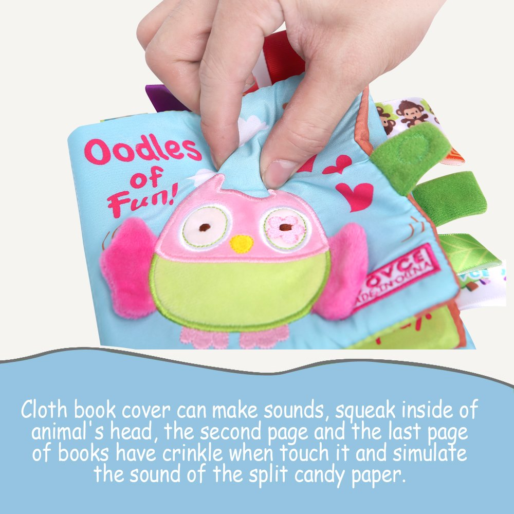 Jcshhubs Soft Baby Cloth Activity Crinkle Book Set Fabric Non Toxic