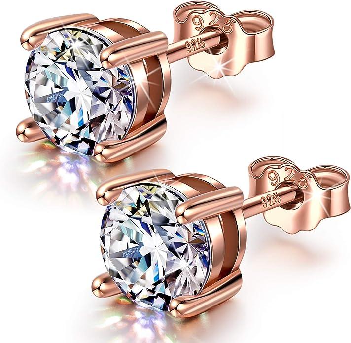 Natural Gemstone Zircon Earring Girls,Handcrafted Women Stud Earrings Wedding Anniversary Gift 925 Silver Earring for Women