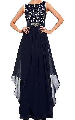 Meet Edge Women Sleeveless Round Neck Lace Bridesmaid Long Dress