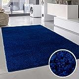 Alfombra de pelo largo estampado, con diseño de ondas, colores varios, Öko-Tex, acrílico, azul, 60 cm_x_110 cm