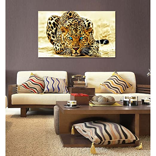 Animal Canvas Wall Art,Abstract Leopard Canvas Prints with Frame,Attractive Leopard Picture Decorative,Easy Hanging On,More Size Optional (24