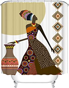 Fangkun Bathroom Shower Curtain African Women Art Painting Decor Set - African Cultural Design - Polyester Fabric Waterproof Bath Curtains - 12pcs Hooks - 72 x 72 inches