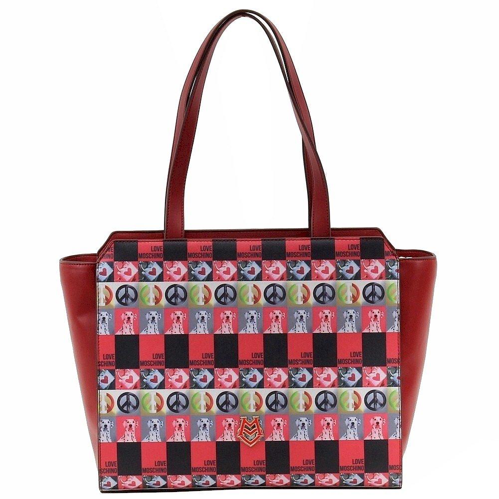 01e6f2a64a891 Amazon.com  Love Moschino Women s Red Digital Print Double Handle Tote  Handbag  Shoes