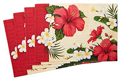 Amazoncom Hibiscus Blossom Placemats Red And White Flower