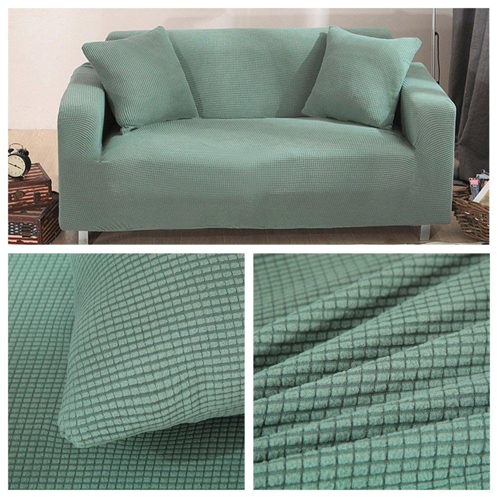 HM&DX Waffel Elastischer Sofabezug, Anti-rutsch Gesteppter 1-stück Polyester Spandex All-Inclusive Couch Sofaschutz-Grün 4 Sitzer