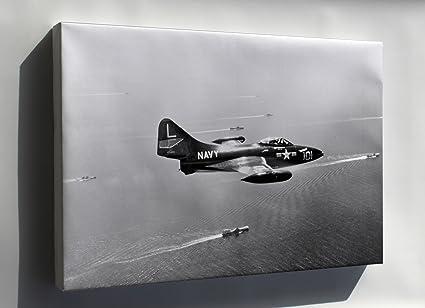 amazon com canvas 24x36 grumman f9f 2 panther vf 71 cvg 7 1952