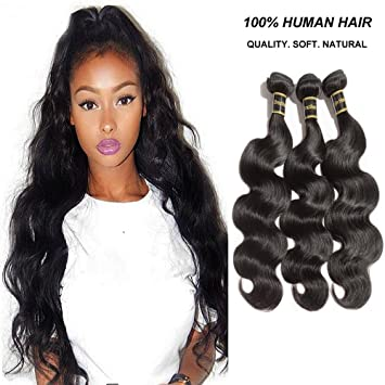 Amazon rechoo brazilian virgin remy human hair extension rechoo brazilian virgin remy human hair extension weave mixed length 3 bundles 300g natural black pmusecretfo Choice Image