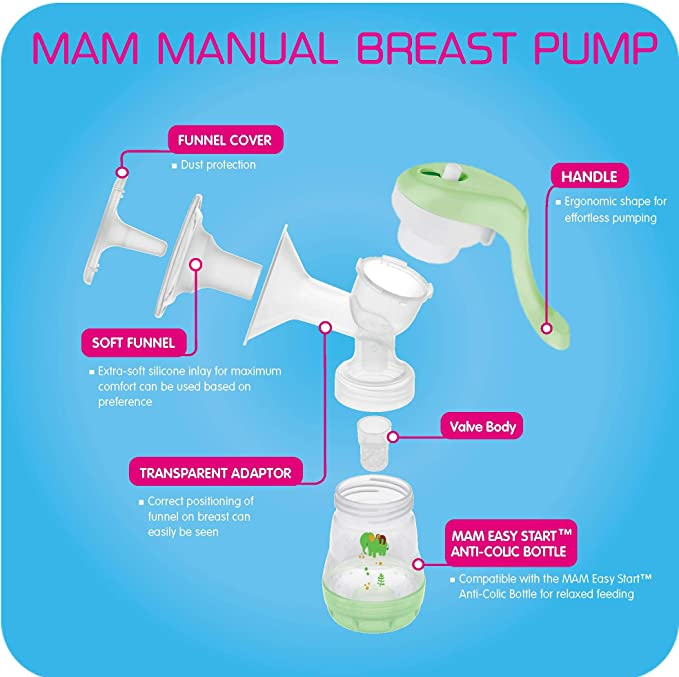 Green 1Count MAM Manual Breast Pump One Size Portable Breast Pump with Easy Start Anti-Colic Baby Bottle