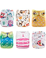 ALVABABY Cloth Diaper Pocket Washable Adjustable Reuseable6 PCS+12 Inserts