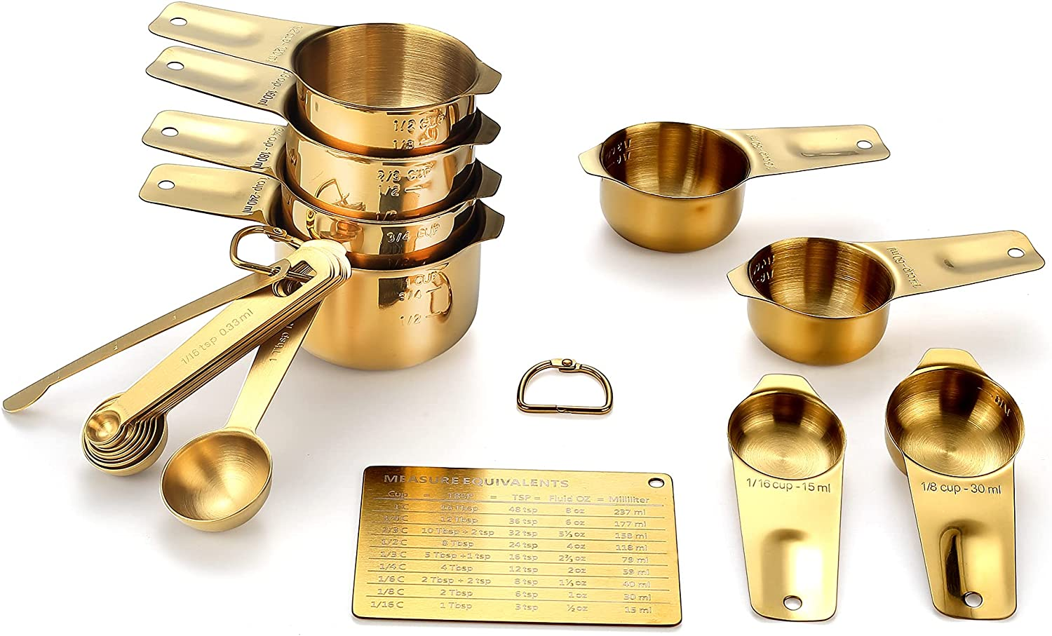 Gold Measuring Cups and Spoons Set (19PCS Set - Golden Plated), 8 Measuring Cups, 9 Measuring Spoons, 1 Leveler and 1 Magnetic Measurement Chart, Stackable for Easy Storage with Gift Package