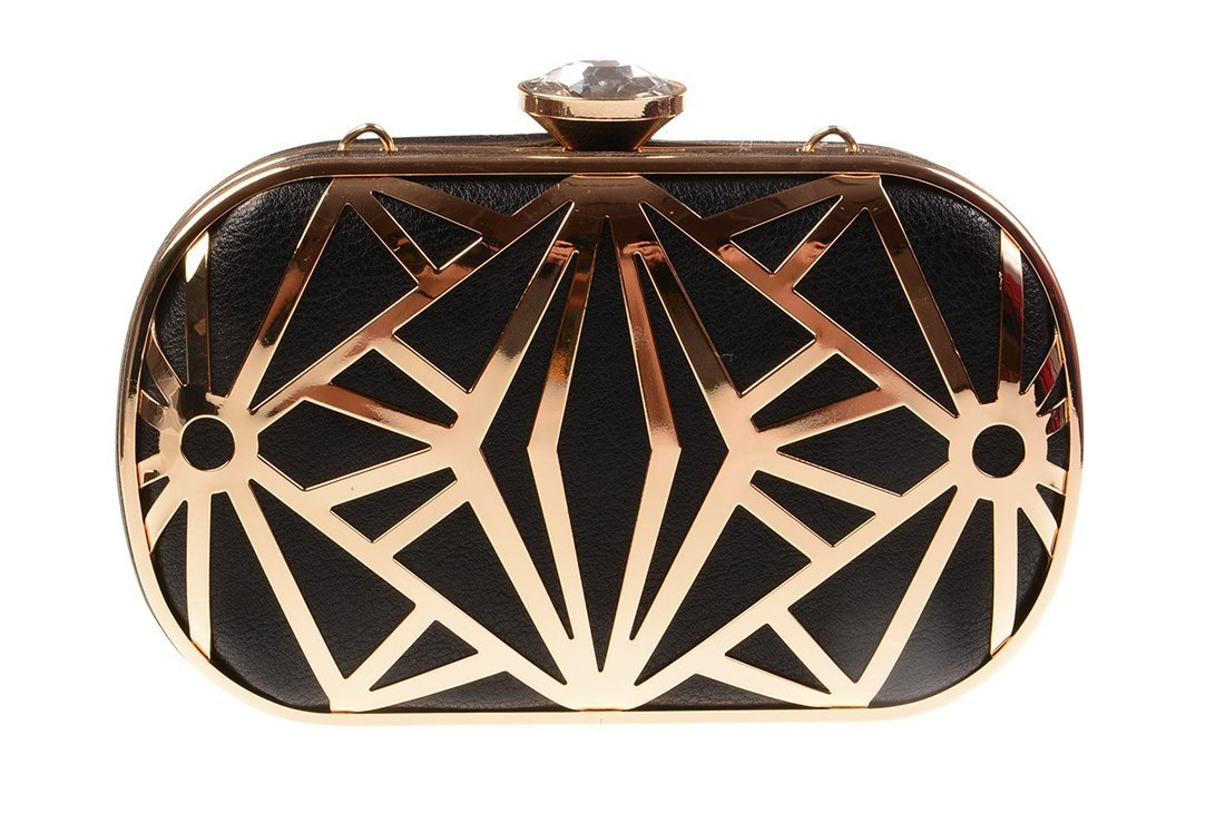 KISS GOLD(TM) Exquisite Leather Metal Hollow Designer Clutch Bag Evening Handbags (Black) by KISS GOLD