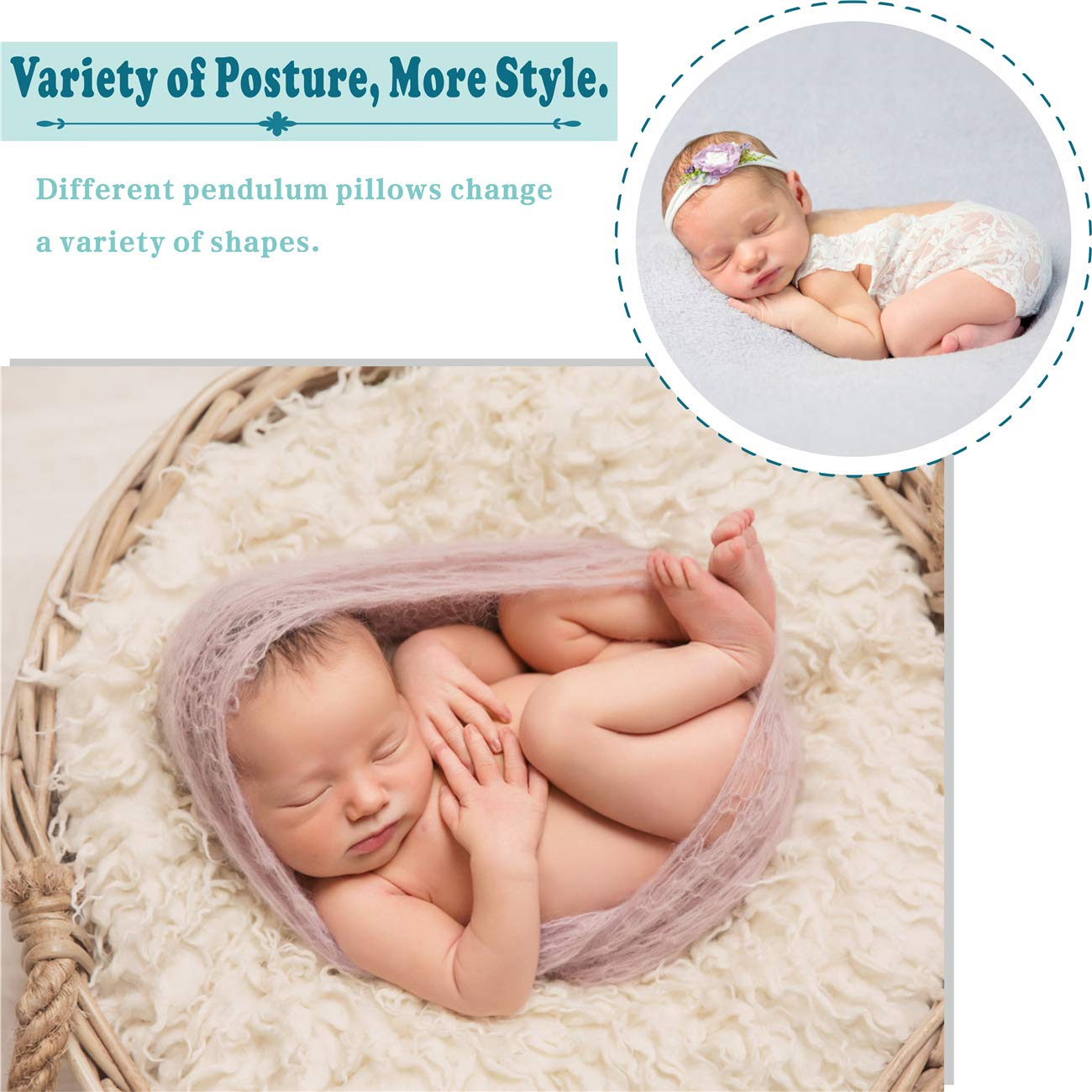 Large Size Baby Photo Props | M/&G House Newborn Photography Props Free 12 PCS Baby Month Sticker Fits 0-6 Months 4 PCS Ultra-Soft Baby Donut Posing Pillow Infant Posing Props for Boy or Girl