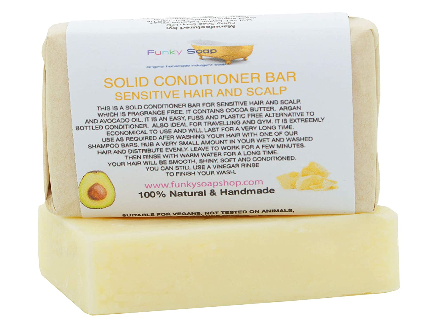 1x Solid Conditioner Bar for sensitive hair and scalp, 95g, Handmade and economical Funky Soap