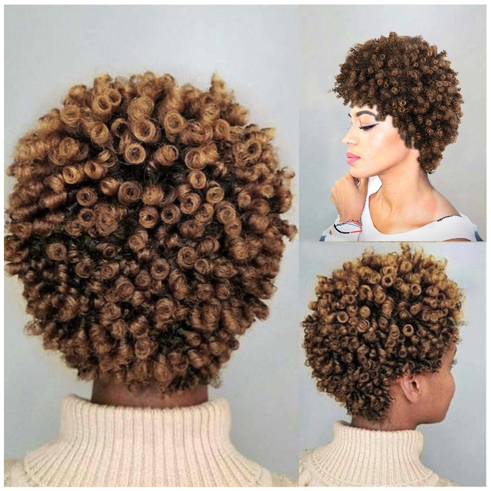 Amazon.com   Lady Miranda Afro Kinky Curly Brown Mixed Light Brown Color  Short Curly Wig Synthetic Wigs for Women (Brown Light brown)   Beauty 6545f96d600b