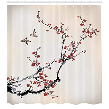 Ambesonne Nature Shower Curtain, Cherry Branches Flowers Buds and Birds Style Artwork with Painting Effect, Cloth Fabric Bathroom Decor Set with Hooks, 70  Long, Burgundy Black